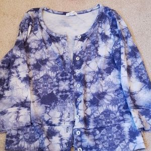 Delias Floral Cardigan 3/4 sleeves blue white